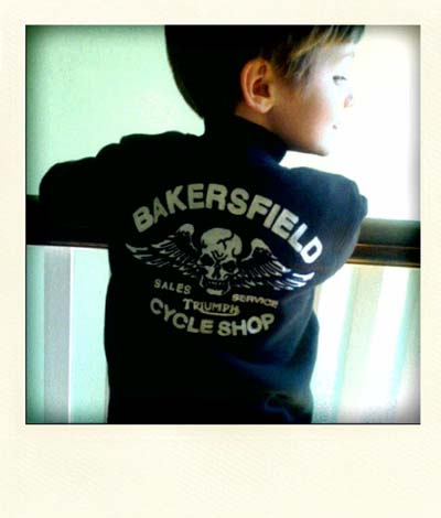Emmett in his Bakersfield CA,Triumph Dealer's Jacket Feb. 2010 (4 years old)